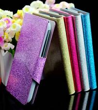For LG Optimus L70 D325 D320 Bling Glittery PU Leather Flip Wallet Case Cover