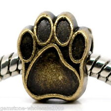 W09 Wholesale Lots Bronze Tone Dog's Paw Charm Beads Fit Charm Bracelet
