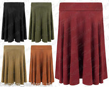 Ladies Womens Long Suede Look Knee Length Stretch Flared Swing Skirt Plus 14-28