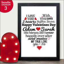 Valentines Gifts for Him & Her - PERSONALISED Valentines Day Presents Love Heart