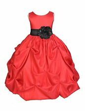 RED FLOWER GIRL DRESS CHRISTMAS PARTY HOLIDAY PAGEANT RECITAL WEDDING BRIDESMAID