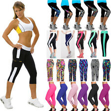 Womens Sports YOGA Capri 3/4 Pants Fitness Gym Cropped Workout Jogging Trousers
