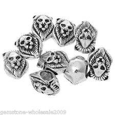Wholesale Lots Silver Tone Lion Face Charm Beads. Fits Charm Bracelet 13x9mm