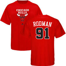 Dennis Rodman ADIDAS Chicago Bulls Primary Logo Jersey Red T Shirt Men's