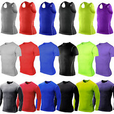 Mens Compression Base Layer Tight T Shirt Vest Athletic Under Skin Top Gear Wear