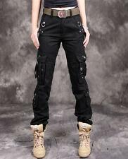 Fashion womens cotton casual cargo hiking overalls military pants trousers 28-38