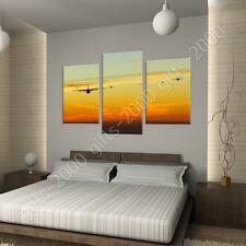 Synthetic CANVAS  Split 3 panels Planes jets in sunset 3 Panels art gallery