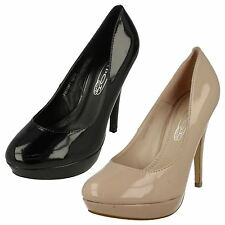 Ladies Spot On Patent Court Shoes / High Heel / Slip On