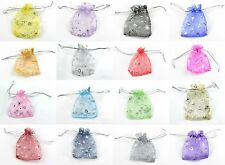 100 / 200  ORGANZA GIFT BAGS WITH HEARTS 5 SIZES PARTY WEDDING FAVOURS POUCHES