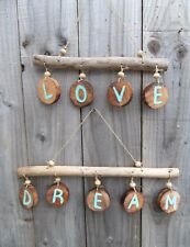 Fair Trade Hand Carved Made Driftwood Wooden Love Dream Wall Hanging Mobile