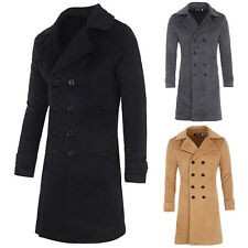 Mens Winter Wool Long Coat Double Breasted Trench Coat Jacket Peacoat Outerwear