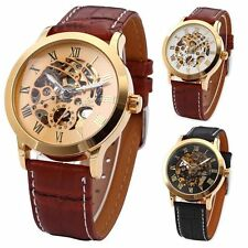 Luxury Men's Automatic Mechanical Skeleton Wrist Watch Stainless Steel Leather