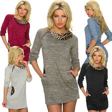 Ladies Mini Dress Long Pullover Sweater Leopard Pattern S 34 36 38 Party Club
