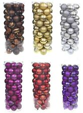 60 PACK of 6cm FESTIVE CHRISTMAS TREE BAUBLES BALLS PINK RED BLUE GOLD SILVER