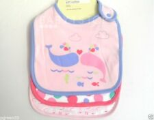 3 Pack Quality Girls Baby Bibs / 3x Bib  Soft Cotton Girls Pink Designs New