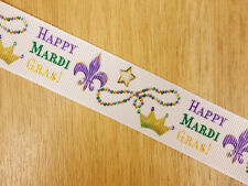 "1"" Mardi Gras Fat Tuesday Jewelry Grosgrain Ribbon Bows HairBow Craft Decoration"