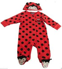 Girls Baby Red Ladybird Sleepsuit All in One Pyjamas Age 0 3 6 9 12 18 24 Months