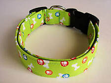 Charming Lime Green with Dog Bones & Paws Standard Dog Collar