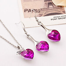 Polished Crystal Rhinestone Heart Pendant Charm Necklace Earrings Jewelry Set