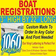 "3""H x 22""W BOAT REGISTRATION NUMBERS SETS CUSTOM OUTDOOR VINYL LETTERING DECALS"