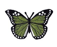 Iron On Embroidered Applique Patch Olive Green and Black Monarch Butterfly