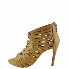 Anne Michelle SugarLove-35M Women's Natural Lace Up Caged Stiletto