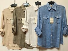 NEW MURANO 100% Linen  Men's Slim Fit Dual Buttoned Pocket Casual Shirt M, L,XL