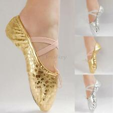Beauty Girl Ballet Dance Shoes Pointe Adult Gymnastics Sequins Leather Shoes T72