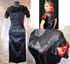 NWT Tatyana ILLUSIONS Dress BLACK SATIN 50s Pencil RED BOWS 40s Bettie Page Med