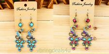 BEAUTIFUL PEACOCK EARRINGS AVAILABLE IN TWO COLORS NWT.USA SELLER FAST SHIPPING