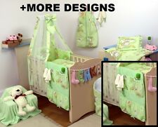 GREEN TEDDY - COT ORGANIZER + NURSERY COT - COT BED SET WITH CANOPY+ MORE