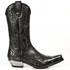 NEWROCK New Rock 7921 S3  Silver Flame Cowboy Biker Boots  LEATHER