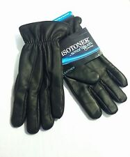NEW Men's ISOTONER smarTouch Stretch Leather Gloves 722M1 Black M or LG