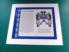 "COAT OF ARMS WITH SURNAME HISTORY MOUNTED 12"" x 10"" & FREE A4 NAME HISTORY"