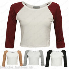 Ladies Women's 3/4 Sleeve Contrast Crew Neck Cropped Vest Top T-Shirt SM ML