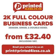 2000 BUSINESS CARDS PRINTED FULL COLOUR 350GSM SINGLE DOUBLE SIDED FLYERS 350
