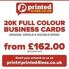 20000 BUSINESS CARDS PRINTED FULL COLOUR 350GSM SINGLE DOUBLE SIDED FLYERS 350