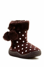 $90 NEW Coco Jumbo Mia Polka Dot Faux Fur Boots Brown, Black Size 1.0,3.0,4.0