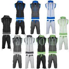 Contrast Cord Sleeveless Hoody / Shorts Set Tracksuit  Mens Size