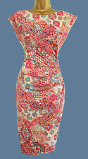 NEW EX WALLIS ORANGE BLUE TAN  PRINT VTG BODYCON WIGGLE  DRESS 8 10 12 14 16 18