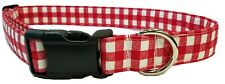 Red Gingham Dog Collar Summer Fabric Picnic Checker plaid Adjustable with Buckle