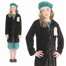 Childrens Evacuee Girl With Coat Fancy Dress Costume War Time Outfit 6-12 Yrs