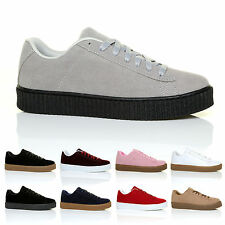 CHUNKY SOLE CREEPER TRAINERS 2016 RIHANNA HOT LOOK FAUX SUEDE PU LEATHER PUMPS