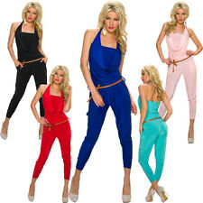 Ladies Halter neck Jumpsuit Overall Catsuit with belt S 32 34 36 Party Club