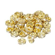 50pcs Gold / Silver Czech Crystal Rhinestone Rondelle Spacer Beads 6/ 8/ 10mm