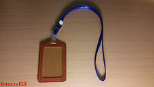 1 PC Clear Brown Faux Leather Vertical ID Card Holder + 1 PC Lanyard Neck Strap