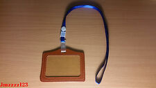 1PC Clear BROWN Faux Leather Horizontal ID Card Holder + 1PC Lanyard Neck Strap