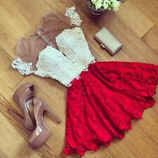 Womens Formal Evening Gown Red Lace Spring Prom Ball Cocktail Party Mini Dresses