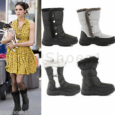 LADIES WOMENS WARM FUR LINED WINTER QUILTED WATERPROOF SNOW BOOTS SHOES SIZE