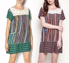 Umgee Crochet Lace Neckline Shift Dress * 2 Colors * Multicolored Striped A1026